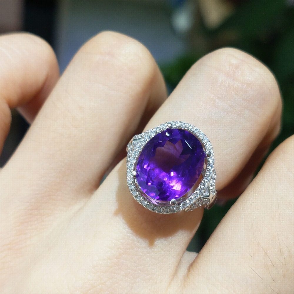 FLZB Big African amethyst gemstone oval 10 12mm 6 5 ct natural gem ring in 925