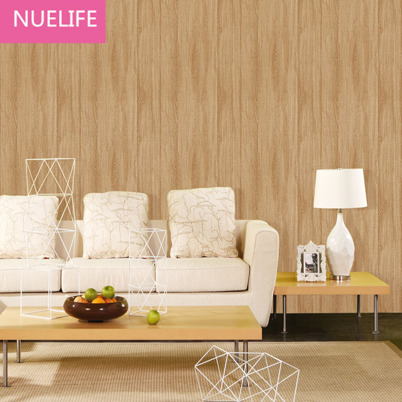 Bedroom Shop: 0.53x10m 3D Deep Embossed Grain Wood Pattern Wallpaper