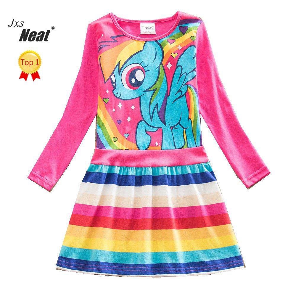 NEAT Girl long sleeves dress Children clothes  kids dresses for girls Loli style Leisure Cartoon 100% cotton party dress LH6218 fashion 2016 new autumn girls dress cartoon kids dresses long sleeve princess girl clothes for 2 7y children party striped dress