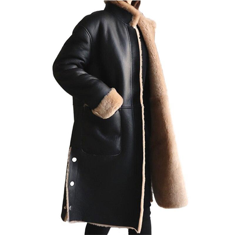 Hiver veste en cuir femmes en laine d'agneau manteau Plus taille 5XL Flocage Épaissir chaud PU en cuir manteau femme À La Fois côtés peut être worn2325