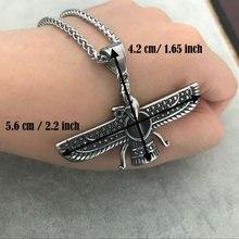 Ahura Mazda Farvahar Zoroastrian Persian stainless steel pendant necklace   accept drop shipping