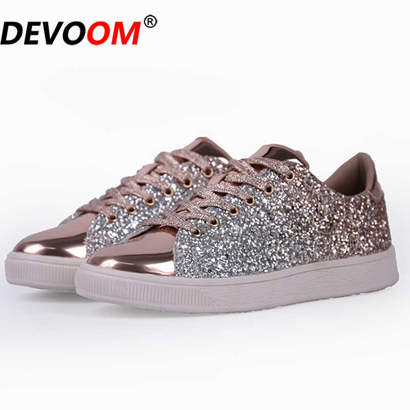 New Golden Skateboarding Shoes 2019 Ladies Sequins Basket Femme Sneakers  Women Canvas Sport Shoes zapatilla mujer bcd31bfbb847