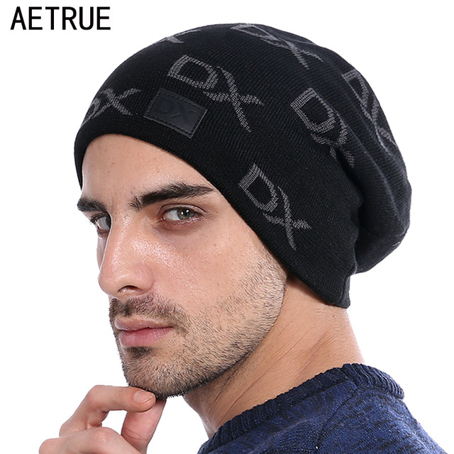 Aetrue Skullies шапочки Мужчины вязаная шапка зимняя Шапки для мужчин и женщин капот моды Кепки S Теплые Мешковатые мягкие фирменные Кепки Шапка мужская шляпа