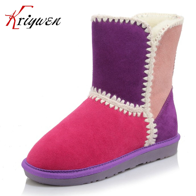 ФОТО Big size 34-43 winter snow boots for woman mixed color cow suede shearling female ankle womens shoes warm plush lady retro shoes