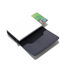 2019 Automatic PU Leather Credit Card Holder Man Aluminum Alloy Business ID CardHolder Male Slim Card Case Wallet for Men business style pu aluminum alloy name card holder case silver brown