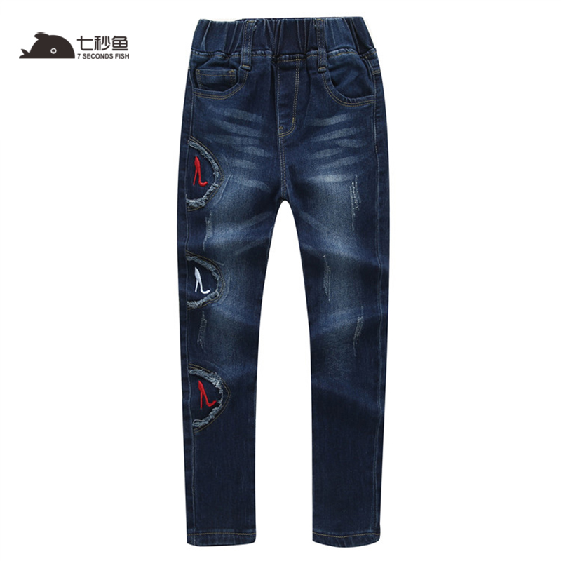 2019 Moda Primavera Meninas Arco Crianças Magras calças de Jeans de Algodão Calças de Casimira Ocasional Roupa Dos Miúdos outono Calças Elásticas