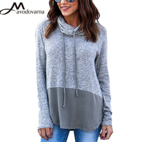 Avodovama M Women New Fashion Patchwork Blouse High Street Long Sleeve Hooded Loose Casual Tops