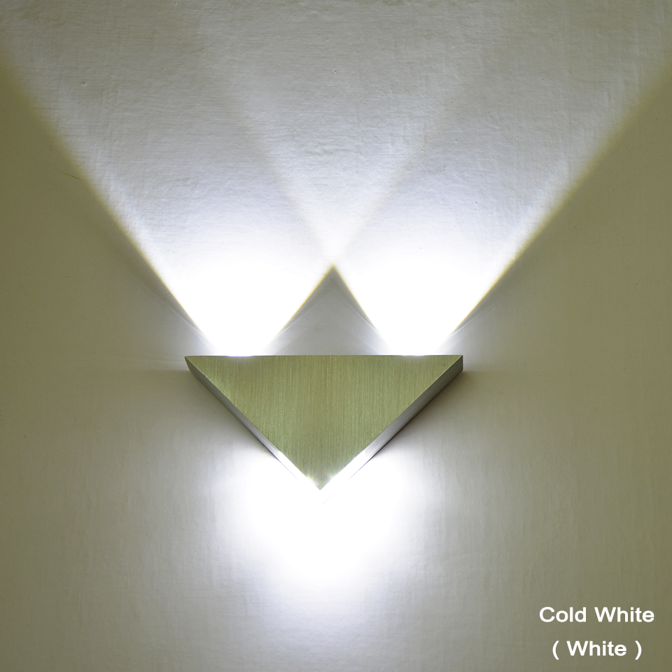 3W LED Wall Lamp Mounted Aluminum Modern Wall Sconce Triangle ...
