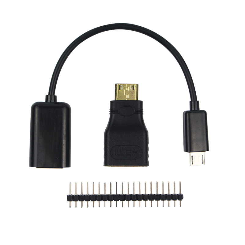 3 in 1 Raspberry Pi Zero Adapter Kit Mini HDMI to HDMI adapter+Micro USB to USB Female OTG Cable + 20 pin Male GPIO Header RRI 0 free shipping hot selling 720p 20m ir range plastic ir dome hd ahd camera wholesale and retail