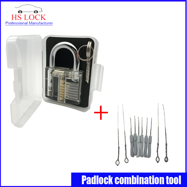 Clear padlock practice lock pick with Broken Key Extractor Set Locksmith Tool Key Removing Removal Hooks Lock Kit hot sale practice lock set with professional broken key extractor set locksmith tool key removal hooks kit 5 pcs tension tools