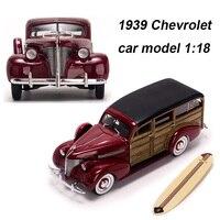 1/18 масштаб сплава литья под давлением 1939 Chevrolet Вуди Surf универсал классический автомобиль модели автомобилей игрушки для коллекции фанатов