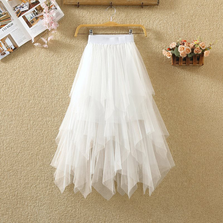 Women irregular Tulle Skirts Fashion Elastic High Waist Mesh Tutu Skirt Pleated Long Skirts Midi Skirt Saias Faldas Jupe Femmle 12