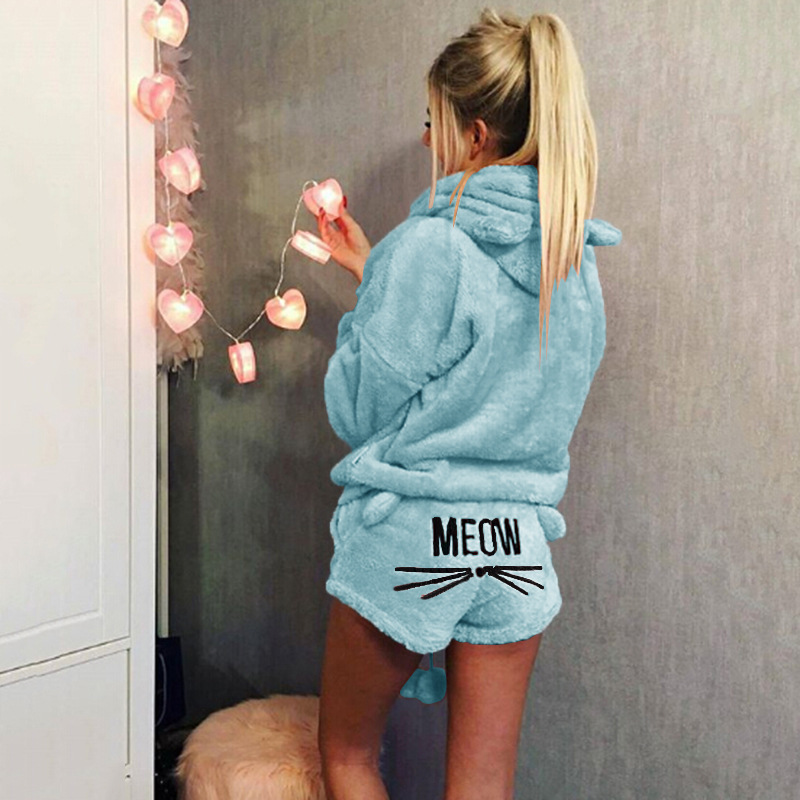 Newly Women Winter Warm Pajamas Suit Plush Hoodie Cute Cartoon Cat Pattern Shorts M99