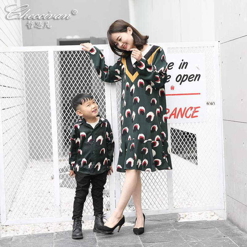 Checcivan Family Matching Clothes 2017 Spring and Summer Mother Print Color Block V-neck One-piece Dress Boy's Cotton Shirt Soft checcivan family summer t shirts mother