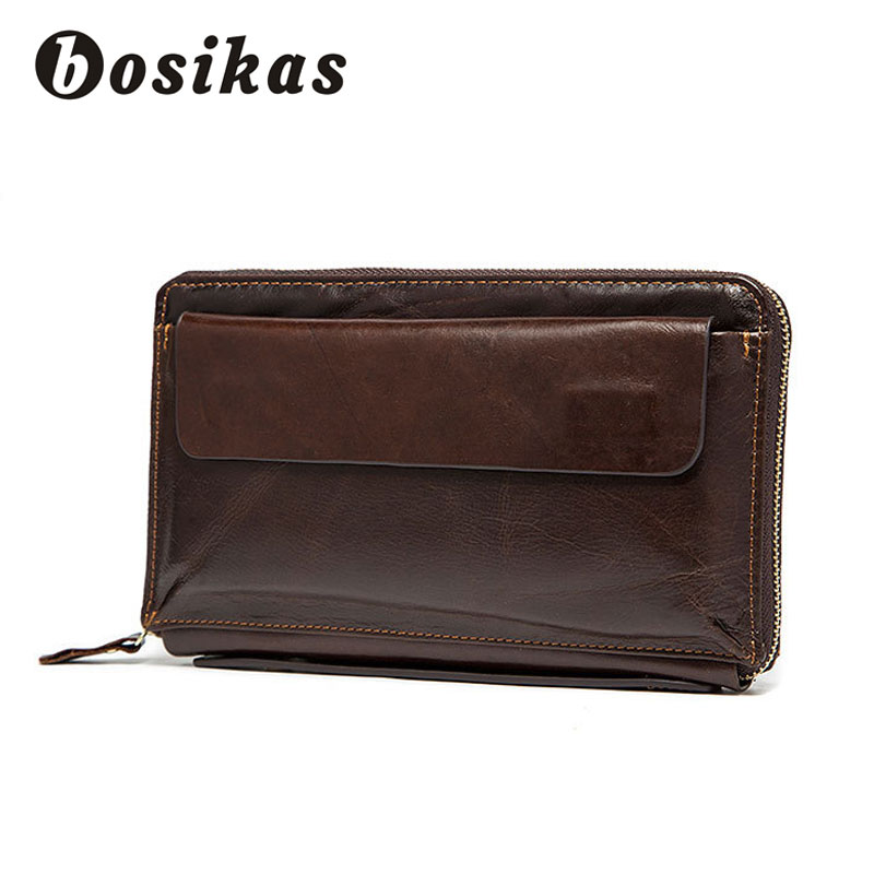 BOSIKAS Men Money Clip Leather Zipper Long <font><b>Phone</b></font> Men&#8217;s Wallet Genuine Leather Men&#8217;s Wallet Purse with coin pocket <font><b>clamp</b></font> Clutches