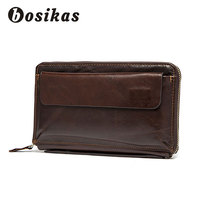 BOSIKAS Men Money Clip Leather Zipper Long Phone Men's Wallet Genuine Leather Men's Wallet Purse with coin pocket clamp Clutches