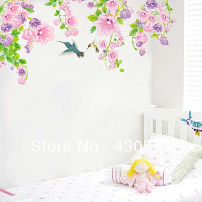 QZ018 Free Shipping 1Pcs Spring Trumpet Flower Leaf Flying Bird Removable PVC Wall Stickers <font><b>Elegant</b></font> Fancy <font><b>Home</b></font> <font><b>Decoration</b></font> Gift