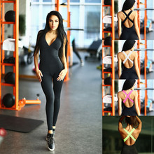 2018 One Piece Yoga Set Sexy Gym Fitness Clothing Suit Quick Drying Elastic Fitness Tights Running
