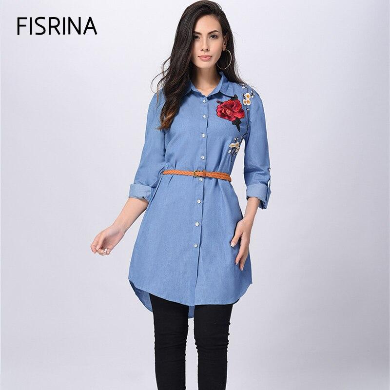 Fisrina Aumentó La Cosecha de Flores Bordado Blusas de Mezclilla Camisa de Manga