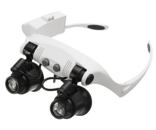 10X 15X 20X 25X LEVOU Lupa de Medição Duplo Eye Glasses Loupe Lens Jeweler Watch Repair com 8 Lente lâmpada LED