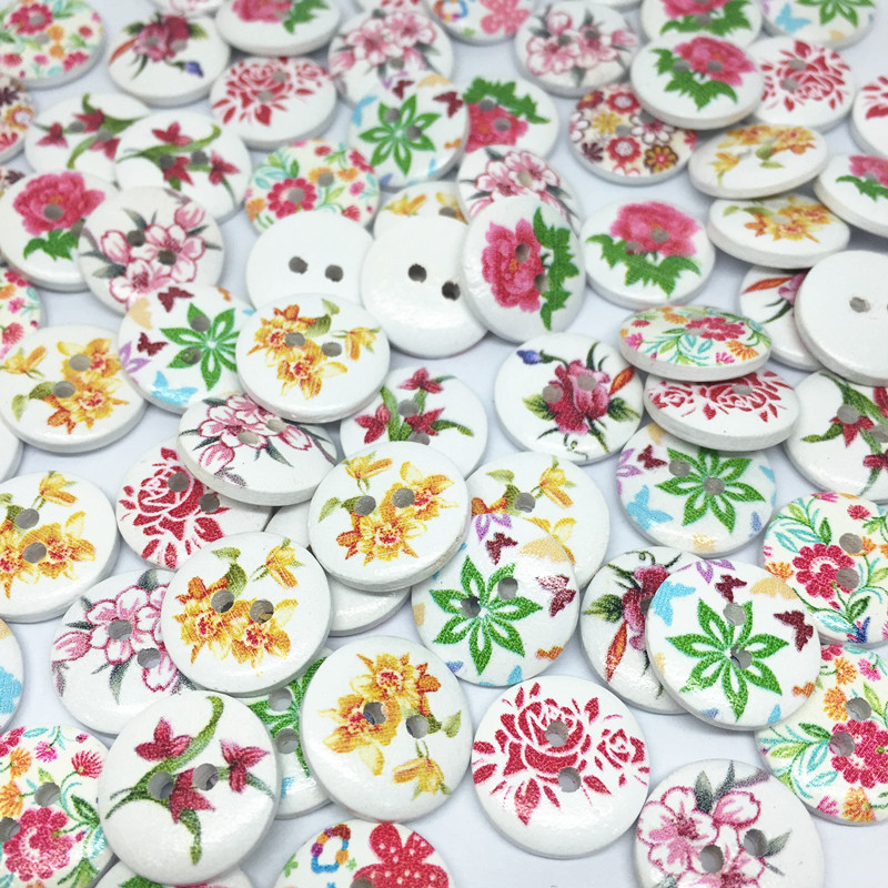 100pcs 15mm Shabby Chic Florals Mixed Wood Buttons Flower ...