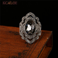 Fashion Vintage Big Gray Crystal Rings For Women Antique Rhinestone Cubic Zirconia Anillos De Plata Wedding