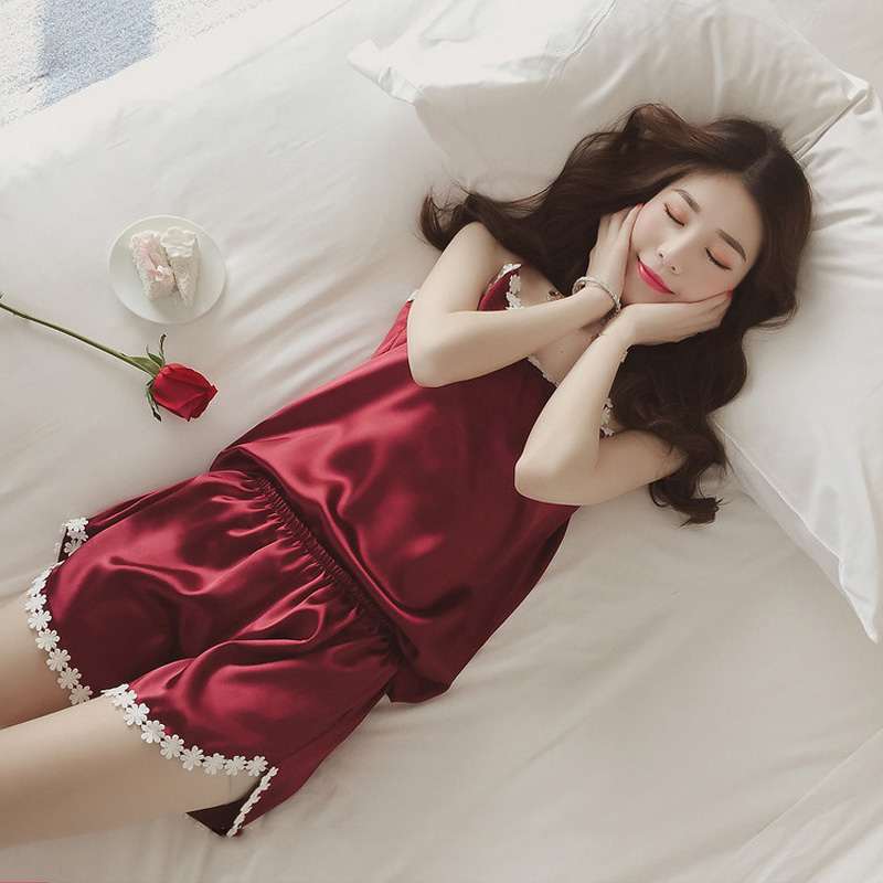 Sexy Imitated Silk Pajamas With Shorts Woman Clothes Flowers Decorative Border Home Suits Summer Sleepwear in Pajama Sets from Underwear Sleepwears