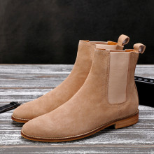 Anh Phong Cách Nam Ankle Boots, Chất Lượng Cao Genuine Leather Chelsea Boots, Con Bò Đực Cao Su Duy Nhất Chelsea Giày(China)