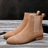 British Style Men's Ankle Boots,High Quality Genuine Leather Chelsea Boots,Bullock Rubber Sole Chelsea Shoes