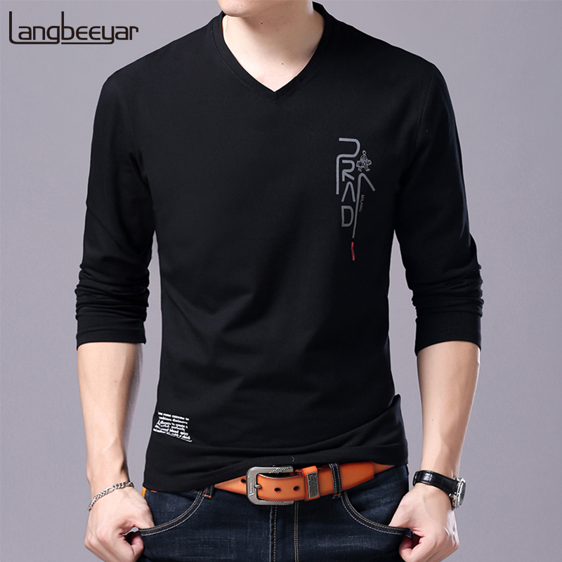 2019 New Fashion Brand   T     Shirt   For Men Korean Boyfriend Gift Trending Tops Streetwear V Neck Print Long Sleeve Tee Men Clothes