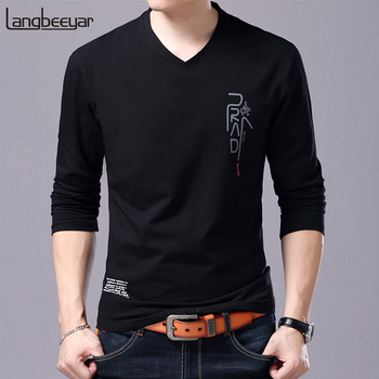 2020 New Fashion Brand T Shirt For Men Korean Boyfriend Gift Trending Tops Streetwear V Neck Print  Long Sleeve Tee Men Clothes