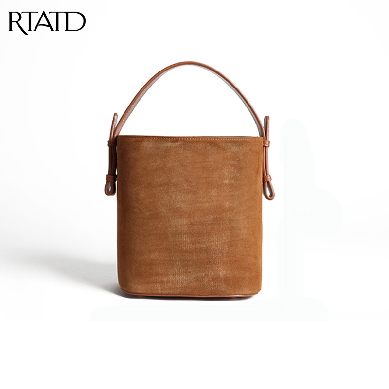 RTATD New Classic Cow Leather Tote Chic Bucket Women Split Leather Handbags trendy Ladies Messenger Bags For Female B053 247 classic leather