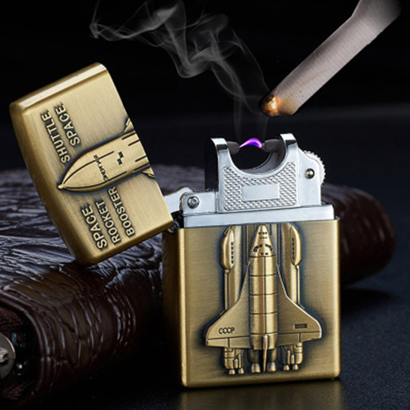 3D Pattern Plasma USB Lighter Electronic Cigarette Accessorie Pulse Arc Torch Lighter Windproof Thunder Metal Bronze Plasma-in Cigarette Accessories from Home & Garden