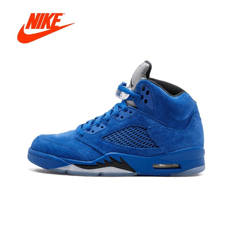 ba2e171ff12a Original Nike Air Jordan 5 Retro Blue Suede Men s Nike Basketball Shoes  Sneakers for Men 136027-401