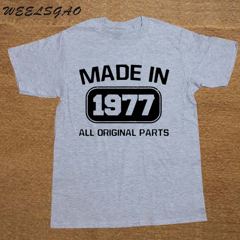 Fashion Top Tees Short Sleeve Gift Crew Neck <font><b>Mens</b></font> <font><b>40Th</b></font> <font><b>Birthday</b></font> <font><b>Idea</b></font> Made In 1977 All Original Parts Bday Present image