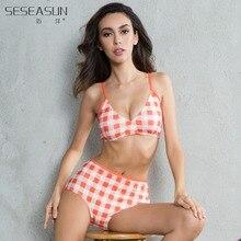 SESEASUN 2016 Newest High Waist Two Piece Bikini Set Vintage Orange Plaid Swimwear Swimsuit trikini Women Nylon Top Brand Bikini