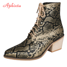 Aphixta Shoes Women Boots Mujer Shoe Female Ankle Snake Skin Prints Wood Square Heel Pointed toe Ladies Sexy