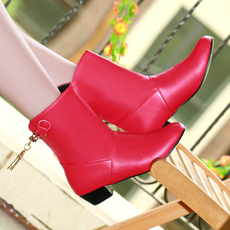 Hot sale Big size 35-47 New arrival Black Red High quality PU Slip-on Women boots Fashion Square heels Mid-calf shoes woman
