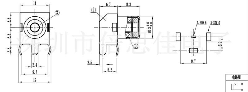 20pcs RCA Single Hole 2 Feet Gold AV socket PCB Welding
