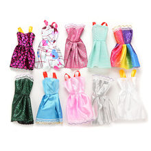 10PCS Handmade Girl Doll Mini Dress for Barbie Doll Dress Slim Clothes Dress Up Toy for