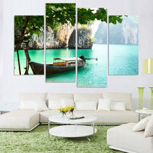 Wall Art Painting Popular 4 Piece/Set Seaview With Ship HD Print Canvas Modular Framework Picture For Living Room Decor Poster(China)