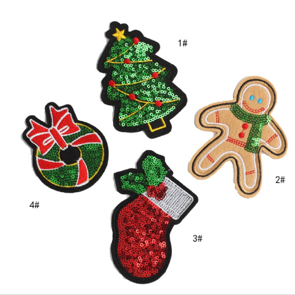 Iron On Badge Cute Embroidery Crafts Gingerbread Man Patch Embroidered Sew On