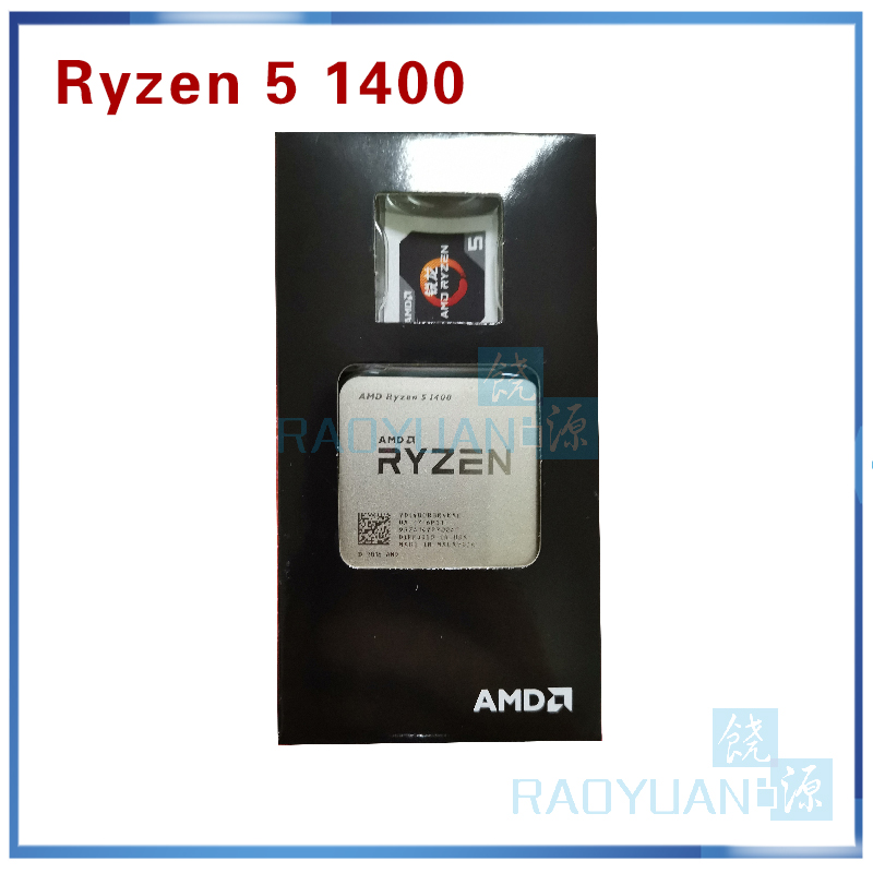 Image 3 - New AMD Ryzen 5 1400 R5 1400 R5 1400 3.2 GHz Quad Core CPU Processor YD1400BBM4KAE Socket AM4 with cooling fan-in CPUs from Computer & Office