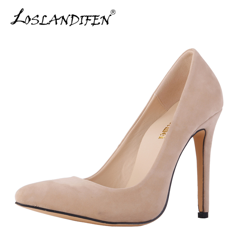 LOSLANDIFEN Pointed Toe Women Pumps Stiletto Red High Heels 11cm Woman Shoes Sexy Flock Party Valentine Shoes Black Nude Pumps