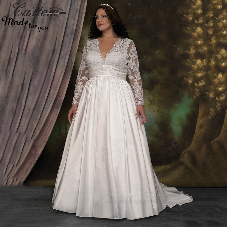 Plus Size Long Sleeve Wedding Gowns: Modest Maternity Bridal Gowns Long Sleeve High Waist