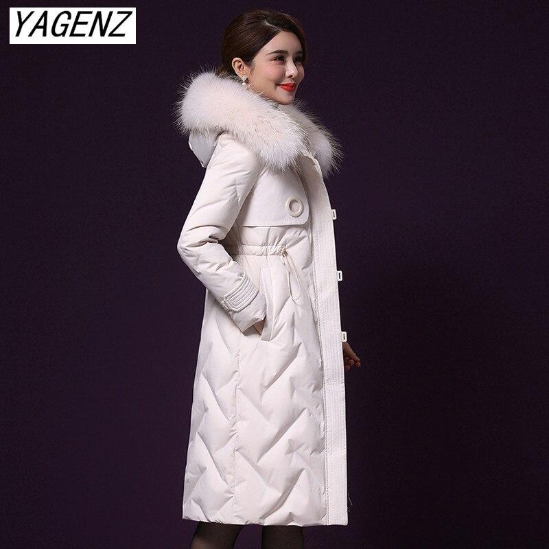 Zima marka kobiety w średnim wieku dół bawełny kurtka płaszcz moda luźne kołnierz z prawdziwego futra długi płaszcz kobiet ciepłe gruby płaszcz z kapturem w Parki od Odzież damska na  Grupa 1