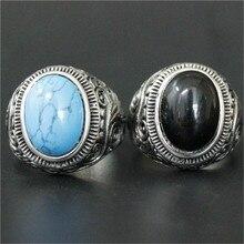 1 шт. поддержка Прямая поставка синий черный камень кольцо 316L нержавеющая сталь ювелирные изделия для мужчин мальчиков Байкер стиль кольцо