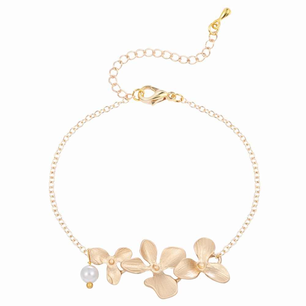 Cxwind 3 pièces Orchidée Fleur Ensemble de bijoux De Mariage Nuptiale nouveauté Luxe Lotus Collier Boucles D'oreilles Bracelet Fête joyas bijoux