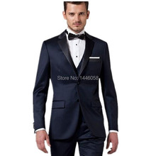 2017 High Quality Custom Made Italian Navy Blue Mens Suits With Jacket Pants Men Suit For Men Wedding Suits Groom Tuxedos
