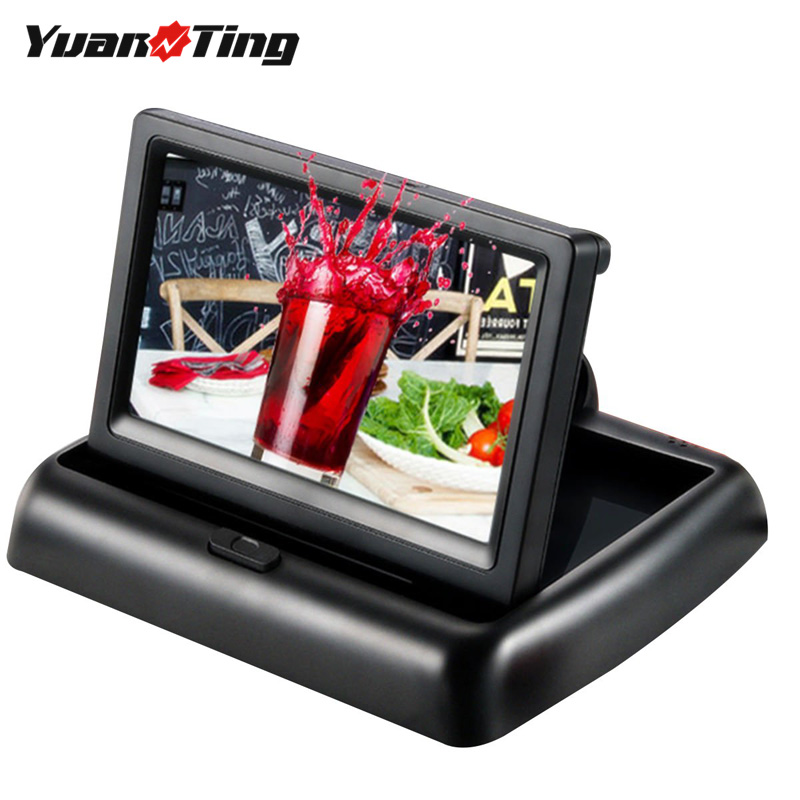YuanTing 4.3'' TFT-LCD Color Parking HD Display Screen Foldable Car Monitor For Night Vision Reverse Camera Parking System